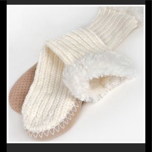 IVORY SOFT CHENILLE SOCK SLIPPERS - SIZE L/XL